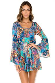 LULI FAMA LACED UP BELL SLEEVE DRESS