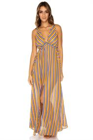 LULI FAMA V NECK LONG DRESS