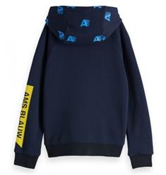 SCOTCH&SODA AMS BLAUW ZIP THROUGH ARTWORK SWEAT