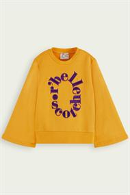 SCOTCH&SODA CREWNECK SWEAT WITH A-LINE SLEEVES
