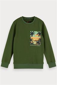 SCOTCH&SODA CREWNECK SWEAT WITH POSTCARD ARTWORK