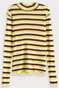 SCOTCH&SODA FITTED L.S. TEE IN YARN DYED STRIPES