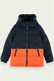 SCOTCH&SODA HOODED JKT WITH PADDING+BRANDED ZIPPER