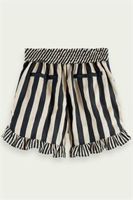 SCOTCH&SODA LINEN STRIPE MIX SHORT WITH RUFFLE HEM