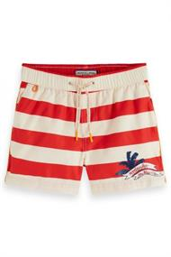 SCOTCH&SODA PRINTED STRIPE SWIMSHORTS