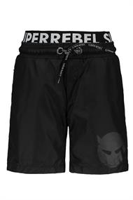 SUPER REBEL SOLID SWIM SHORT WITH DOUBLE WAISTBAND
