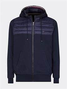 TOMMY HILFIGER MIXED MEDIA HOODED ZIP TROUGH