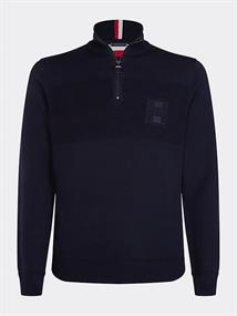 TOMMY HILFIGER PLACED STRUCTURE ZIP MOCK