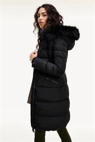 TOMMY HILFIGER STRETCH DOWN COAT WITH FUR