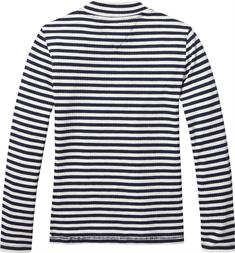 TOMMY STRIPE MOCK NECK RIB KNIT L/S