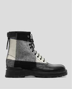 WOOLRICH BLUBBER CALF LEATHER WOOL CHECK